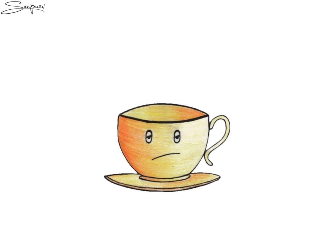 Tee, dem alles egal ist (Karikatur)