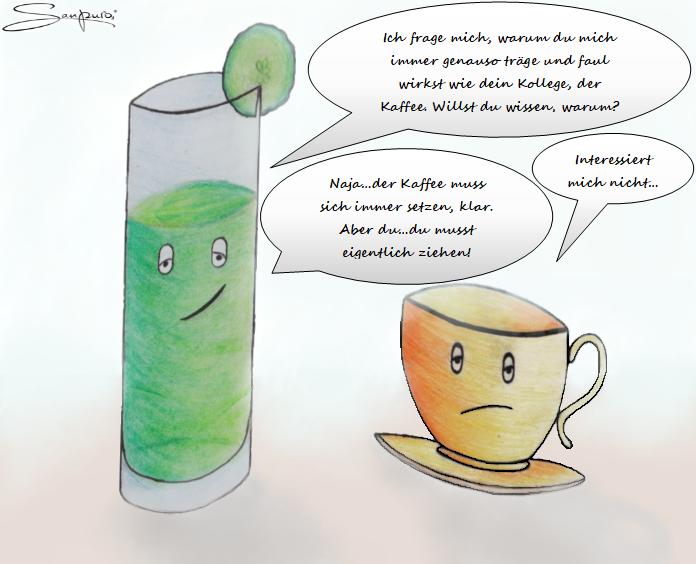 Wellnessdrink spricht mit Tee (Karikatur)